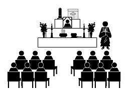 葬儀のイラスト 白黒